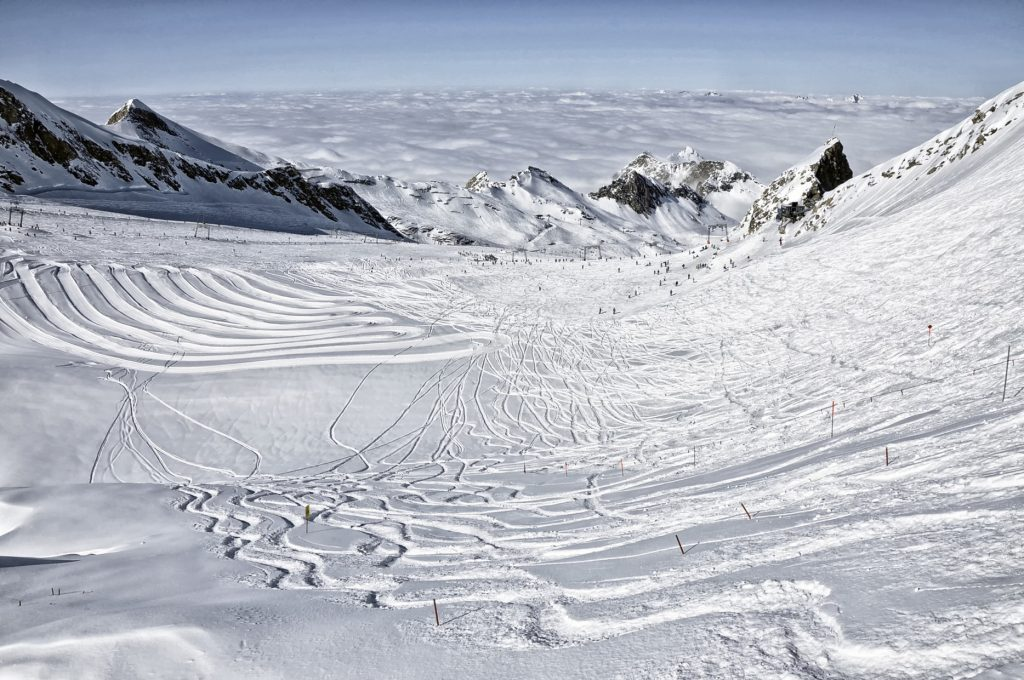 stok narciarski w Alpach